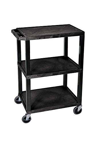 Luxor WT34S 3 Shelves Tuffy Utility Cart - Black by Luxor