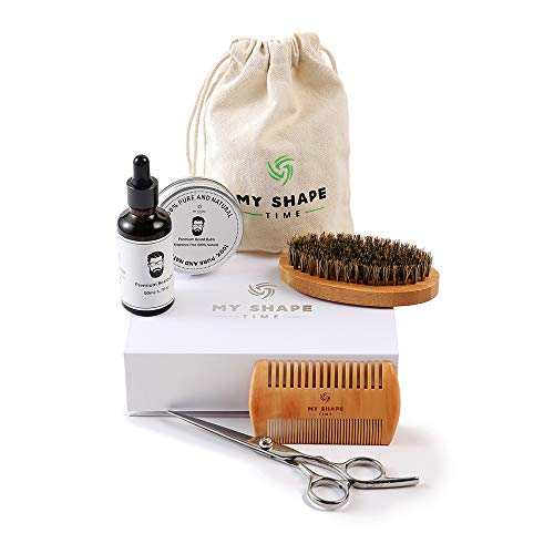 Premium Beard Grooming Kit for Men – 100% Organic Unscented Beard Oil,Beard Balm Butter Wax, Beard Brush, Beard Comb, Beard Scissors for Beard & Mustache