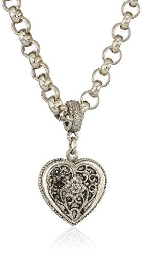 1928 Jewelry Womens Silver Tone Filigree Heart Pendant Necklace, 16