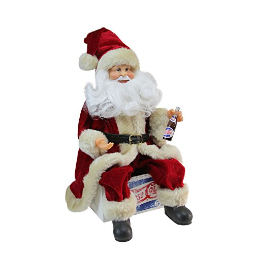 (Northlight Santa Claus Sitting on Vintage Pepsi Cola Crate Christmas Figure, 12