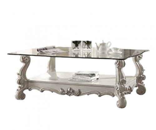 Major-Q 9082103 Antique Bone White Finish Coffee Table with Clear Glass