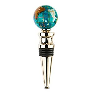 KALIFANO Gemstone Globe with Bahama Blue Opalite Ocean on a Gold Colored Wine Bottle Stopper by Alexander Kalifano