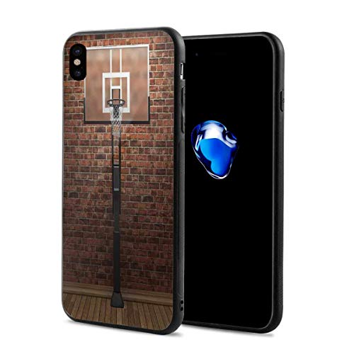 Phone Case Cover Compatible with iPhone X XS,Old Brick Wall and Basketball Hoop Rim Indoor Training Exercising Stadium Picture Print Game Theme,Compatible with iPhone X/XS 5.8