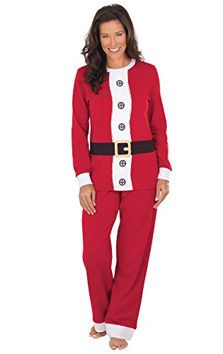 PajamaGram Fun Women Christmas Pajamas - Christmas Pajamas, Red Santa, L, 12-14