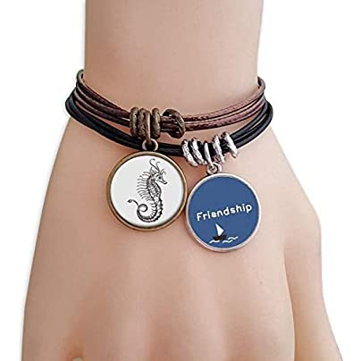 Hippocampus Marine Life Illustration Friendship Bracelet Leather Rope Wristband Couple Set Estimated Price -