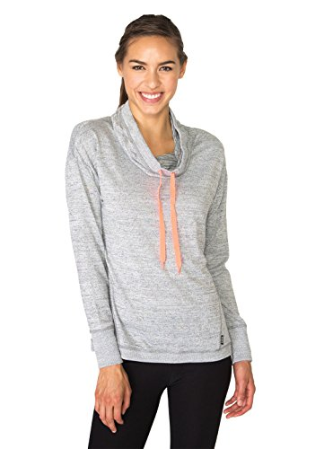 RBX Active Women's Hacci Cowl Neck Pullover with Ribbed Trim, Grey,Large