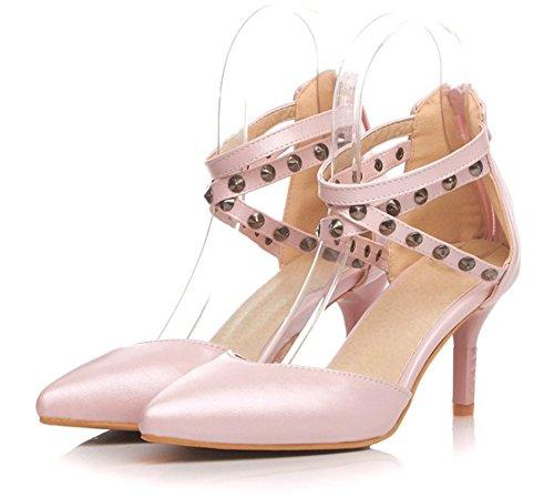 Aisun Womens Élégant Robe Cloutée Sexy Chaton Talons Pompes Chaussures Rose