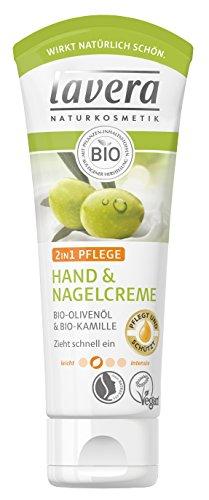 lavera Hand & Nagelcreme 2in1 Pflege mit Bio Olivenöl & Bio Kamille - Handcreme zieht schnell ein, vegan Naturkosmetik, 2er Pack (2x75ml)
