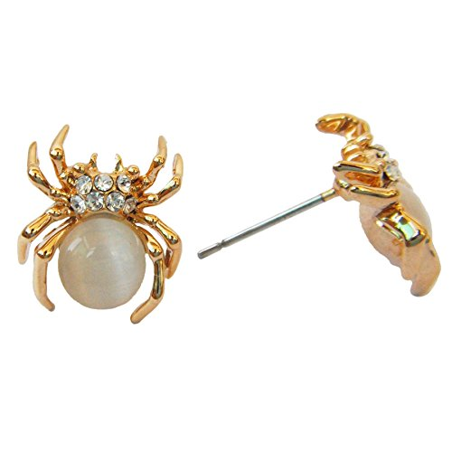 (Navachi 18k Gold Plated White Created-Opal Crystal Spider Az2403s Stud)