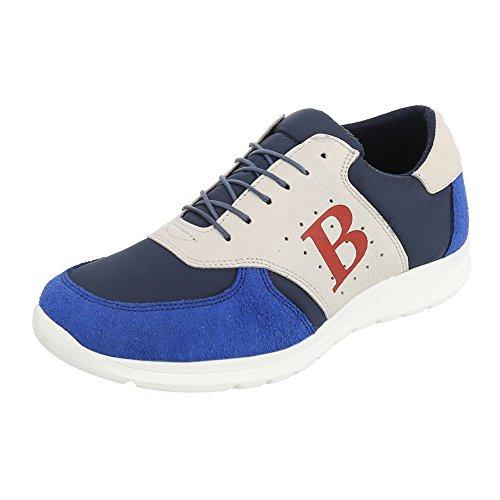 Blau Herrenschuhe Turnschuhe Ital Multi Schnürer Top Design Schnürsenkel Low Sneaker Leder z6xqSw67Z