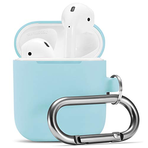 (Airpods Case, Airpod Silicone Skin Cases Cover by Camyse, Full Protective Durable Shockproof Drop Proof with Keychain Compatible with Apple Airpods Charging Case,AirpodsAccesssories (Sky Blue) )