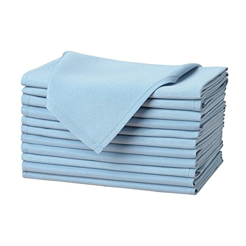 Remedios Cloth Napkins Set of 12 Pieces Solid Color Polyester Napkins Soft and Reusable Dinner Napkin for Wedding Party Restaurant Banquet Home (Baby Blue, 17x17 inch) (Blue Cloth Napkins)