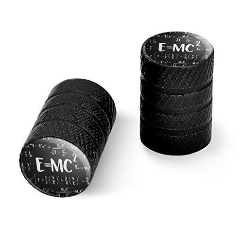 オートバイ自転車バイクタイヤリムホイールアルミバルブステムキャップ - ブラック E = MC 2エネルギー質量式Albert Einstein特殊相対性理論の理論