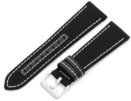 Hadley-Roma Men's MSM848RT 240 24-mm Black Genuine 'Kevlar' with Off-White Stitching Watch Strap