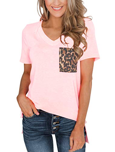 Minthunter Women's Casual Basic Tops Short Sleeve V Neck T Shirt with Sequin/Leopard Pocket (Large, Pink) ()