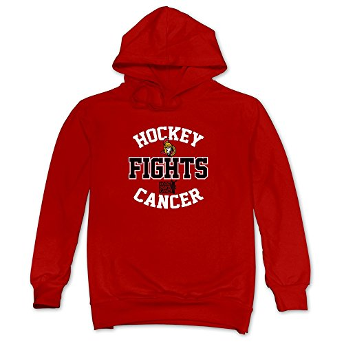 JUST Men's Ottawa Senators Old Time Hockey Fights Cancer Hoodie Red