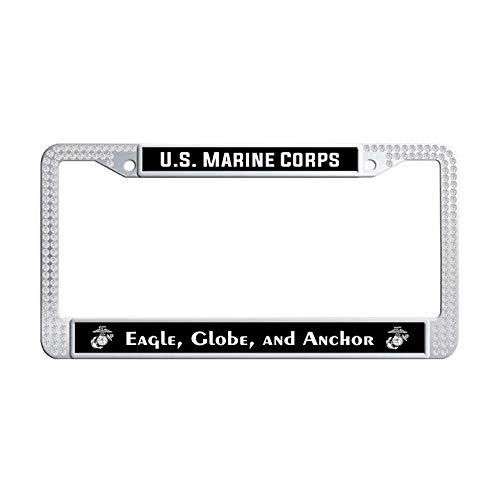 - Nuoyizo US Marine Corps Eagle, Globe, Anchor Sparkle Crystal License Cover Holder Bling Rhinestones Hippie Waterproof Stainless Steel Metal Car Licence Plate Covers (White)