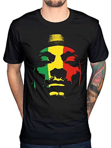 AWDIP Men's Official Snoop Dogg Rasta Face T-Shirt Doggy Dog Rap Hip Hop Reggae