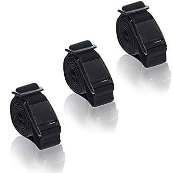 Women Invisible Elastic Belt - 3PCS Adjustable No Show Belt Plastic Flat Buckle (Black)
