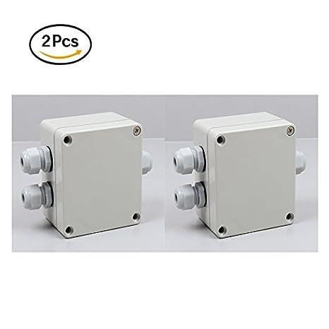 2pcs caja de derivación 3 way resistente al agua conectores de cables para exteriores blanco