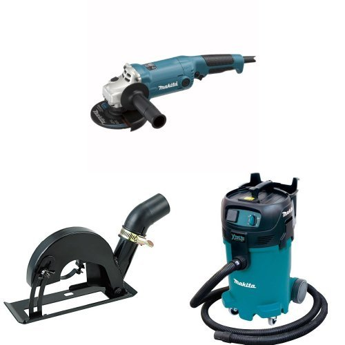 Makita GA5020Y 5-Inch Angle Grinder with Super Joint System  with Makita Makita 193794-5 Dust Extracting 4-1/2 inch - 5 inch Grinder Cutting Guard - with shoe with Makita VC4710 12-Gallon Wet/Dry Vacuum