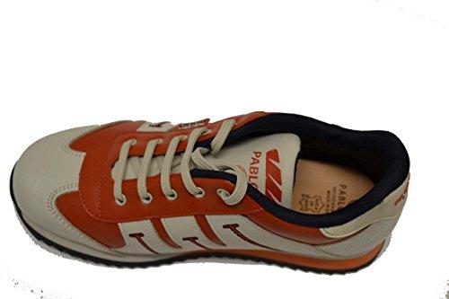 Pablosky 220090 - Deportivo EN Piel de Cordones Para Niño. Color Crema y Naranja. Talla 38