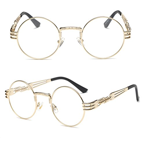 35ff6ce212 GAMT John Lennon Glasses Quavo Steampunk Round Sunglasses Circle Metal  Frame Eyewear for Men and Women Clear Lens