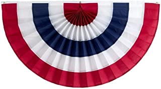 product image for Independence Bunting – 3' x 6' American Made Cotton Flag Bunting. Fully Sewn 5 Stripe Red, White & Blue Patriotic Bunting Banner!