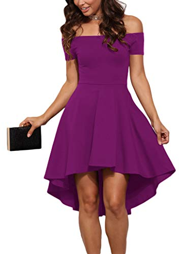 Sidefeel Women Off Shoulder Sleeve High Low Skater Dress X-Large Rosy