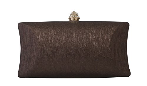 Clasp Chicastic Cocktail Brown Clutch Wedding Purse Bridal Evening Bag Rhinestone Crystal Box Bronze Hard rAHxEAzq