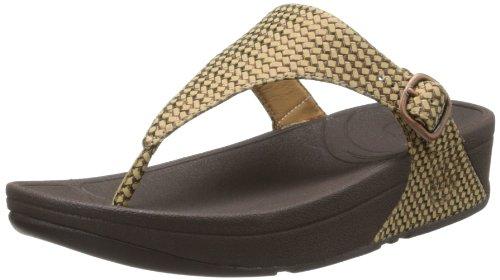 FitFlop Women's Skinny Weave Flip Flop,Bronze Ore,10 M US
