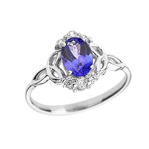 Tanzanite and Diamond 14k White Gold Trinity Knot Proposal Ring(Size ()