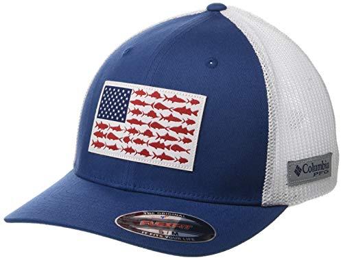 (Columbia Peg Mesh Fish Flag Ball Cap, Small/Medium, Night Tide/White)