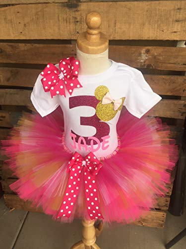 Minnie Mouse Birthday Outfit Tutu Set Dress Shirt ANY AGE Pink Gold and White -