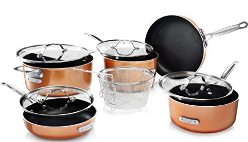 Gotham Steel Stackable Pots and Pans Set - Stackmaster 10 Piece Cookware Set with Ultra Nonstick Cast Texture Coating, Includes Skillets, Sauce Pans, Stock Pots and Fry Basket, Dishwasher Safe
