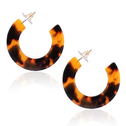 Hoop Earrings for Women Tortoise Acrylic Earrings Resin Ear Studs (Tortoise Shell) ()