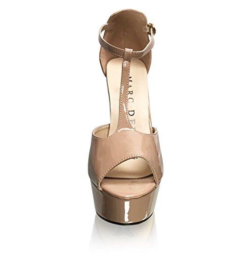 Marc Defang New York Dame Daggry Rochelle Patent Naken T-stropp Plattform Sandal Hæler