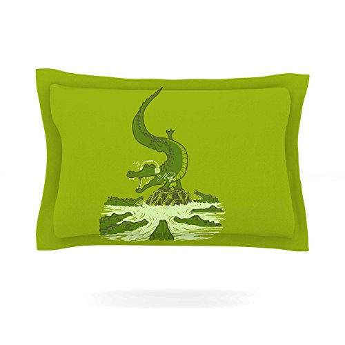 KESS InHouse BarmalisiRTB ''Breakdance Crocodile'' Green Beige Pillow Sham, 40'' x 20'' by Kess InHouse