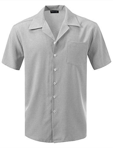 7 Encounter Men's Camp Dress Shirt Heather Gray Size XL