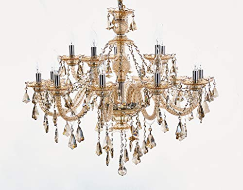 (Top Lighting 15-Light Champaign Finish Crystal Chandelier Pendant Ceiling Light Clear European Crystal, 22