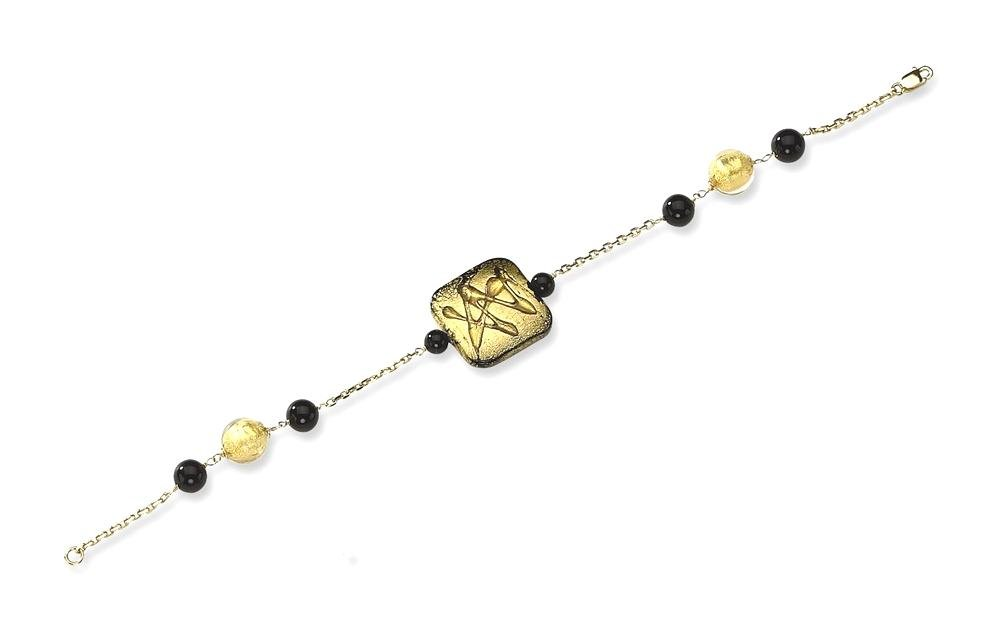 ICE CARATS 14k Yellow Gold Murano Glass Bead Black Onyx Bracelet 7.25 Inch Gemstone Fancy Natural Stone/ Wood Fine Jewelry Gift Set For Women Heart