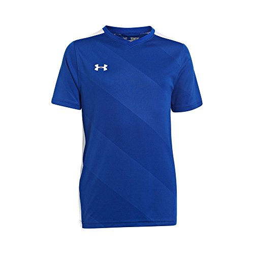 Under Armour Boy's Fixture Soccer Jersey, Royal /White, Yout