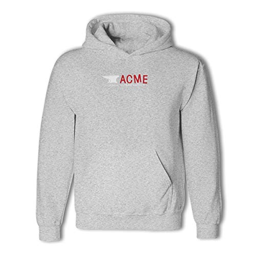 (Sininidr Unisex 3D Pattern Printed Drawstring Acme Anvil Corporation Hoodie Pullover Sweatshirts with Big Pockets Gray L)