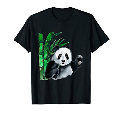 Waving Panda & Bamboo Watercolor Design T-Shirt