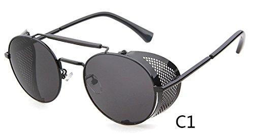 0097a348def Flowertree STY056 Metal Frame Side Shield Oval 52mm Sunglasses (black+grey)  From flowertree