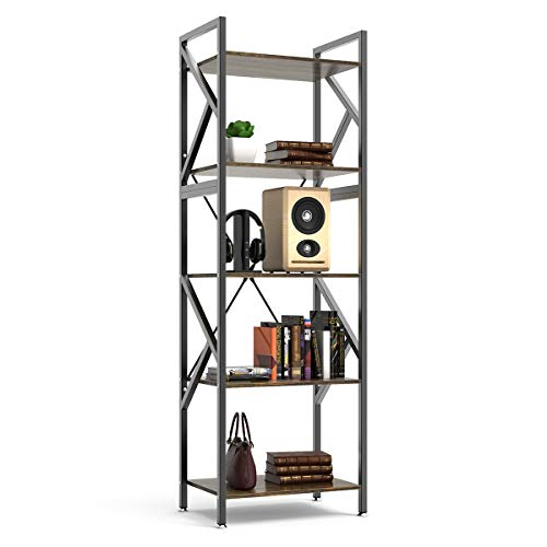 DEWEL 5-Shelf Bookshelf Vintage Industrial Rustic Bookshelf Rack 5-Tier Metal and Wood Bookcase 70'' High Tall Bookcase Etagere Bookcase Furniture Standing Storage Shelf Units for Home Office ()