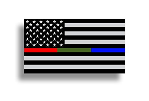 Police Military and Fire Thin Line USA Flag American Flag Sticker Blue Green and Red Stripe for Cars Trucks Cups Laptops Vinyl Window Bumper -
