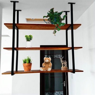 Rustic Kitchen Wood Wall Shelf,Wall Mounted Hanging Liquor Display Bar Shelves Wine Bottle Holder Rack Multi Use for Home Kicthen Coffee Storage & Organization Product (3-Layer L31.5'' D12''xH37.5'')
