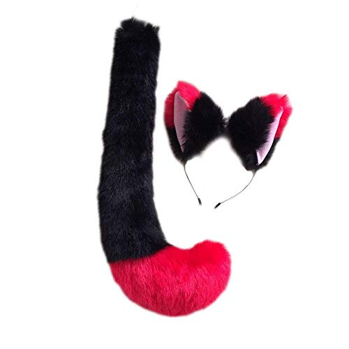 Anime Party Lolita Cosplay Costume Black Fox Cat Tail 19.7'' Fox Tail Cos Children Gift (Black Red Tail Hairband Set) -