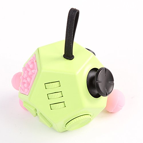 Xinzistar 2 Pcs Fidget Dice II and Dice I Stress Release Anxiety Attention Toys for Children and Adults (Green+09) - 2